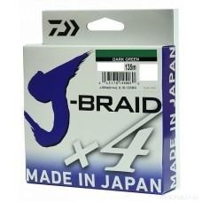 Шнур Daiwa J-Braid X4 Dark Green 0.21мм  135м